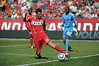 Chicago Fire defender Gonzalo Segares (13) saves the ball from going out of bounds.  Manchester United defeated the Chicago Fire 3-1 at Soldier Field in Chicago, IL on July 23, 2011.