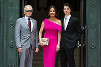 Michael Douglas, Catherine Zeta-Jones and Dylan Michael Douglas arrive at the Guildhall in Swansea
