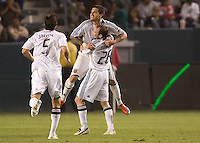 DC United's Santino Quaranta celebrates his goal with teammate Bryan Namoff evening the match. The DC United and Chivas USA played to a 2-2 tie at Home Depot Center stadium in Carson, California on Saturday May 16, 2009.   .
