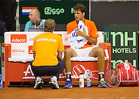 September 12, 2014, Netherlands, Amsterdam, Ziggo Dome, Davis Cup Netherlands-Croatia, Robin Haase on the Dutch bench with captain Jan Siemerink <br /> Photo: Tennisimages/Henk Koster