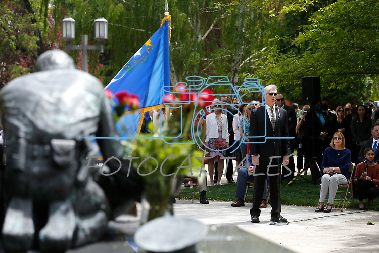 Shawn Mahan sings at the annual Nevada Law Enforcement Officers Memorial ceremony, in Carson City Nev., on Thursday, May 6, 2021.<br />Photo by Cathleen Allison