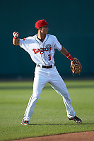 Lansing Lugnuts shortstop Kevin Vicuna (3) on defense against the South Bend Cubs at Cooley Law School Stadium on June 15, 2018 in Lansing, Michigan. The Lugnuts defeated the Cubs 6-4.  (Brian Westerholt/Four Seam Images)