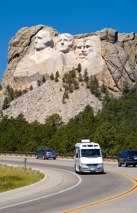Mt Rushmore, South Dakota. Sculpture of our US Presidents Roosevelt Lincoln Washington and Adams. RV travel