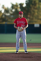 AZL Angels starting pitcher Jose Natera (55) looks in for the sign during an Arizona League game against the AZL Giants Black at the San Francisco Giants Training Complex on July 1, 2018 in Scottsdale, Arizona. The AZL Giants Black defeated the AZL Angels by a score of 4-2. (Zachary Lucy/Four Seam Images)