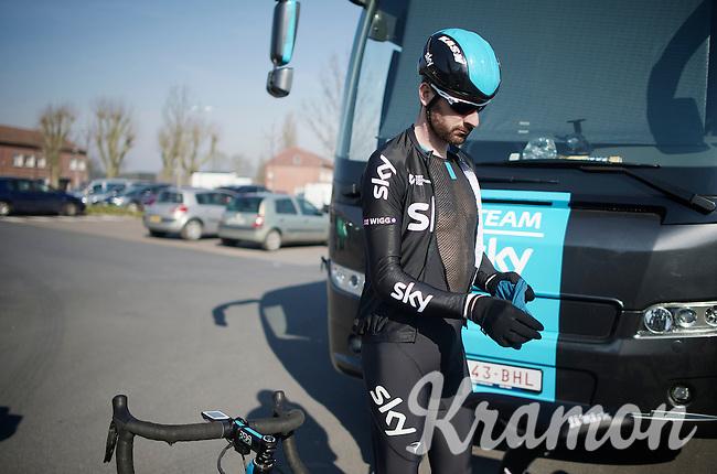 Sir Bradley Wiggins (GBR/Sky) prepping for his very last reconnaissance  as a Team Sky rider.<br /> <br /> 2015 Paris-Roubaix recon with Team SKY