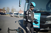 Sir Bradley Wiggins (GBR/Sky) prepping for his very last reconnaissance  as a Team Sky rider.<br /> <br /> 2015 Paris-Roubaix recon with Team SKY