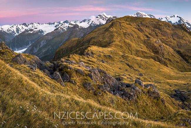 Twilight over Southern Alps with Mount Tasman and Aoraki, Mount Cook. Fox Glacier visible on left, Westland Tai Poutini National Park, West Coast, UNESCO World Heritage Area, New Zealand, NZ