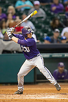 TCU Horned Frogs catcher Kyle Bacak #6 at bat during the NCAA baseball game against the Rice Owls on March 1, 2014 during the Houston College Classic at Minute Maid Park in Houston, Texas. Rice defeated TCU 1-0. (Andrew Woolley/Four Seam Images)
