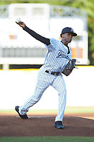 Pulaski Yankees starting pitcher Alexander Vizcaino (57) in action against the Greeneville Reds at Calfee Park on June 23, 2018 in Pulaski, Virginia. The Reds defeated the Yankees 6-5.  (Brian Westerholt/Four Seam Images)