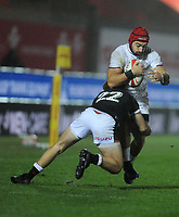 Georgia's Akaki Tabutsadze is tackled by Wales Ioan Lloyd<br /> <br /> Photographer Ian Cook/CameraSport<br /> <br /> 2020 Autumn Nations Cup - Wales v Georgia - Saturday 21st November 2020 - Parc y Scarlets - Llanelli - Wales<br /> <br /> World Copyright © 2020 CameraSport. All rights reserved. 43 Linden Ave. Countesthorpe. Leicester. England. LE8 5PG - Tel: +44 (0) 116 277 4147 - admin@camerasport.com - www.camerasport.com