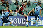 SYDNEY - APRIL 05:  Jun Hui Park of Pohang Steelers is tackled by Matt Simon of Sydney FC during the AFC Champions League group H match between Sydney FC and Pohang Steelers on 05 April 2016 held at Sydney Football Stadium in Sydney, Australia. Photo by Mark Metcalfe / Power Sport Images  (Photo by Power Sport Images/Photo by Mark Metcalfe  / Power Sport Images) *** Local Caption *** Jun Hui Park;Matt Simon