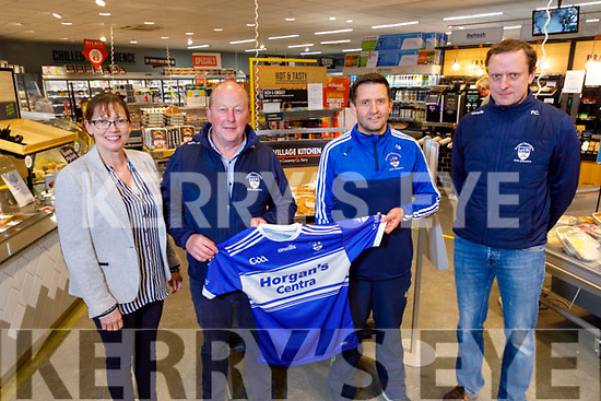 Brendan and Norrie Horgan of Horgan's Centra in Ardfert sponsoring jerseys to the St Brendans Hurling Club on Tuesday.<br /> Front l to r: L to r: Norrie and Brendan Horgan, Tomas Moloney and Pat Joe Clifford.