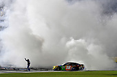 Monster Energy NASCAR Cup Series<br /> Monster Energy NASCAR All-Star Race<br /> Charlotte Motor Speedway, Concord, NC USA<br /> Saturday 20 May 2017<br /> Kyle Busch, Joe Gibbs Racing, M&M's Caramel Toyota Camry does a burn out.<br /> World Copyright: Rusty Jarrett<br /> LAT Images<br /> ref: Digital Image 17CLT1rj_5107