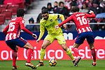 Jorge Molina Vidal (C) of Getafe CF competes for the ball with Sime Vrsaljko of Atletico de Madrid during the La Liga 2017-18 match between Atletico de Madrid and Getafe CF at Wanda Metropolitano on January 06 2018 in Madrid, Spain. Photo by Diego Gonzalez / Power Sport Images