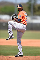 Houston Astros pitcher Frederick Tiburcio (28) during a minor league spring training game against the Detroit Tigers on March 21, 2014 at Osceola County Complex in Kissimmee, Florida.  (Mike Janes/Four Seam Images)