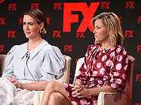 """PASADENA, CA - JANUARY 9: (L-R) Cast members Sarah Paulson and Elizabeth Banks attend the panel for """"Mrs. America"""" during the FX Networks presentation at the 2020 TCA Winter Press Tour at the Langham Huntington on January 9, 2020 in Pasadena, California. (Photo by Frank Micelotta/FX Networks/PictureGroup)"""