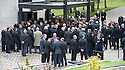 Mourners gather outside Mortonhall Crematorium for the funeral service of Sandy Jardine.