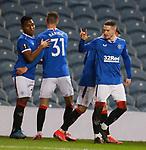 25.02.2021 Rangers v Royal Antwerp: Ryan Kent celebrates his goal for Rangers