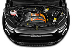 Car Stock 2021 Fiat 500 Icon 3 Door Hatchback Engine  high angle detail view