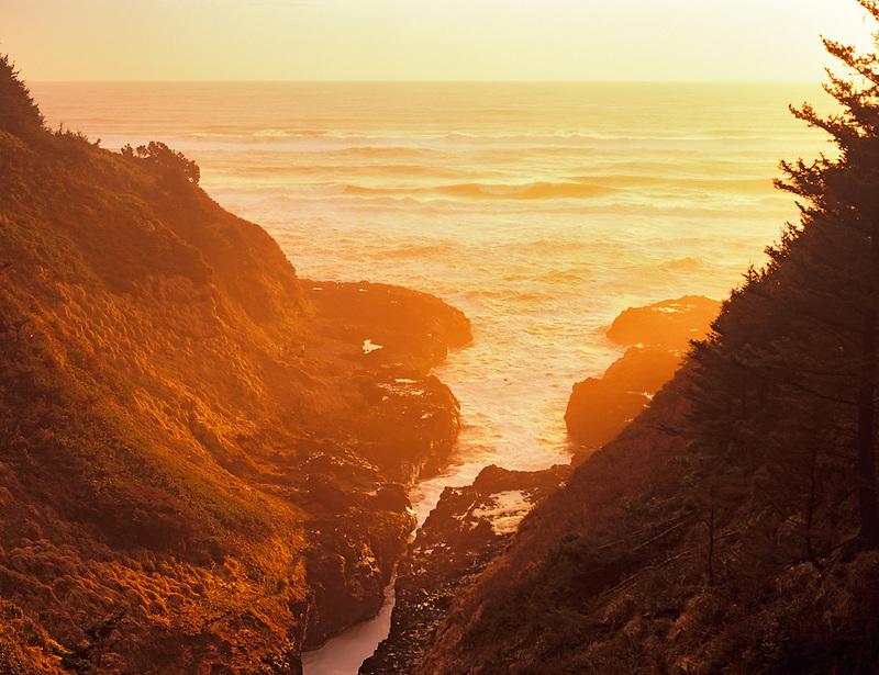 Devil's Churn at Cape Perpetua at sunset. Oregon.