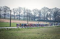 Peloton early race.<br /> <br /> 82nd Gent – Wevelgem in Flanders Fields 2019 (1.UWT)<br /> Deinze – Wevelgem: 251,5km<br /> ©kramon