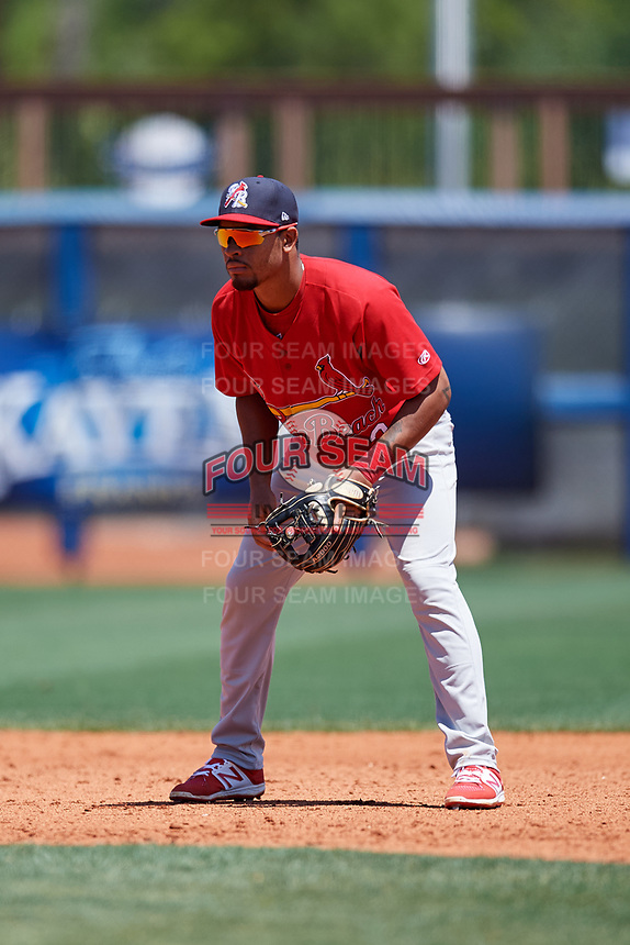 Palm Beach Cardinals shortstop Edmundo Sosa (3) during a game against the Charlotte Stone Crabs on April 12, 2017 at Charlotte Sports Park in Port Charlotte, Florida.  Palm Beach defeated Charlotte 8-7 in ten innings.  (Mike Janes/Four Seam Images)