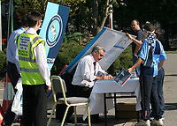 Former Wycombe Wanderers Manager, John Gorman, returns to the Club to sign copies of his autobiography Gory Tales as the signage promoting the book falls on the back of his head during Wycombe Wanderers vs Dagenham & Redbridge, Coca Cola League Division Two Football at Adams Park on 20th September 2008