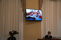 A TV monitor displays a hearing room with the United States House Appropriations Subcommittee on Military Construction, Veterans Affairs, and Related Agencies on Capitol Hill in Washington DC, on May 28th, 2020.<br /> Credit: Anna Moneymaker / Pool via CNP/AdMedia