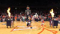 Feb. 16, 2011; Charlottesville, VA, USA;  The Virginia Cavaliers mascot performs during the game against the Duke Blue Devils at the John Paul Jones Arena. The Duke Blue Devils won 56-41.  Credit Image: © Andrew Shurtleff