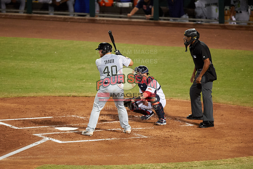 Peoria Javelinas Colton Shaver (40), of the Houston Astros organization, at bat in front of catcher Gavin Collins (12) and home plate umpire Jose Navas during an Arizona Fall League game against the Mesa Solar Sox on September 21, 2019 at Sloan Park in Mesa, Arizona. Mesa defeated Peoria 4-1. (Zachary Lucy/Four Seam Images)