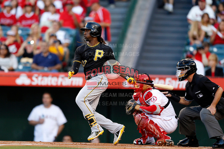 Andrew McCutchen #22 of the Pittsburgh Pirates bats against the Los Angeles Angels at Angel Stadium on June 21, 2013 in Anaheim, California. (Larry Goren/Four Seam Images)