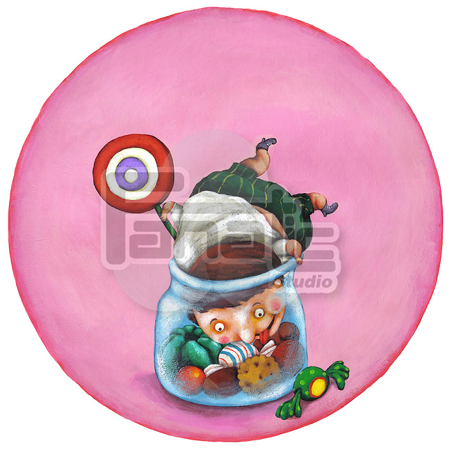Illustrative image of boy in candy jar representing unhealthy living