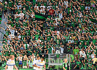 AUSTIN, TX - JUNE 19: The Supporter Group cheers on Austin FC during a game between San Jose Earthquakes and Austin FC at Q2 Stadium on June 19, 2021 in Austin, Texas.