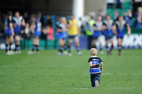 The son of Stuart Hooper of Bath Rugby looks for Dad after the Aviva Premiership match between Bath Rugby and Leicester Tigers at The Recreation Ground on Saturday 20th April 2013 (Photo by Rob Munro)
