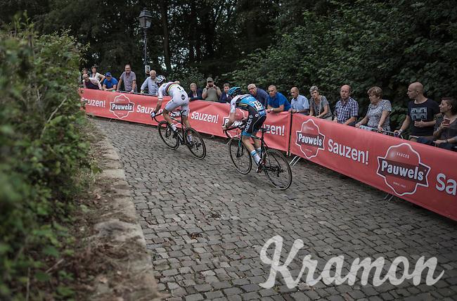 Race leaders Wout Van Aert (BEL/Crelan-Vastgoedservice) & Michael Vanthourenhout (BEL/Marlux-NapoleonGames) up the infamous Kapelmuur<br /> <br /> Brico-cross Geraardsbergen 2016<br /> U23 + Elite Mens race