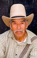 Cowboy hat portrait of man Lake Atitlan village of San Pedro, Guatemal, Central America