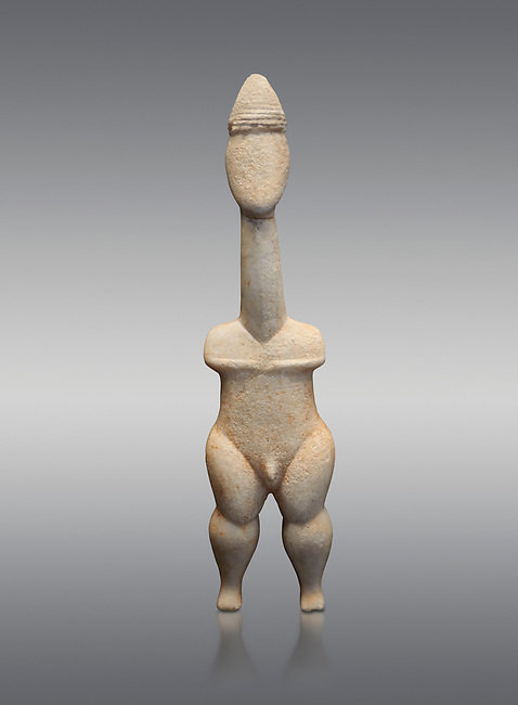 Cycladic statue figurine of the naturalistic 'Plastira' type of Paros. Early Cycladic Period I (Grotta-Pelos Phase 3200-2800 BC). National Archaeological Museum, Athens.   Grey background.<br /> <br /> <br /> This type of Cycladic figurine stand with feet lat to the ground with detailed facial features and ears to make a more realistic statue. This statue is of a hunter or warrior as it bears an incised weapon strap across its chest and holds a knife.