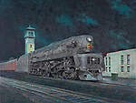 """Pennsylvania Railroad T1 steam locomotive pulling a passenger train, coming into the station at night in Dayton, Ohio, circa 1950. Oil on canvas, 19"""" x 25"""""""