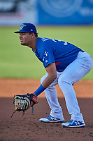 Imanol Vargas (34) first baseman of the Ogden Raptors on defense against the Orem Owlz at Lindquist Field on September 3, 2019 in Ogden, Utah. The Raptors defeated the Owlz 12-0. (Stephen Smith/Four Seam Images)