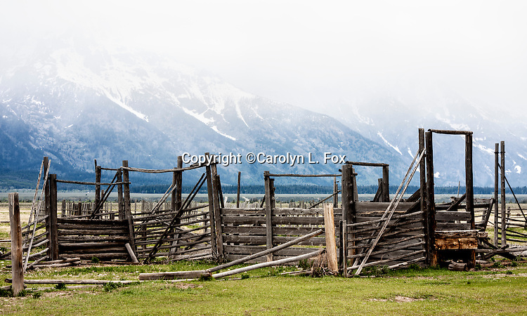 Rundown fences and corrals stands in front of the Tetons in Wyoming.