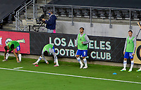 LOS ANGELES, CA - SEPTEMBER 02: Chris Wondolowski #8 warms up along with his San Jose Earthquakes team mates during a game between San Jose Earthquakes and Los Angeles FC at Banc of California stadium on September 02, 2020 in Los Angeles, California.