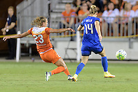 Houston, TX - Sunday Sept. 25, 2016: Cami Privett, Manon Melis during a regular season National Women's Soccer League (NWSL) match between the Houston Dash and the Seattle Reign FC at BBVA Compass Stadium.