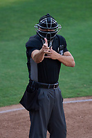 Umpire Casey James calls a strike during a game between the Bradenton Marauders and Dunedin Blue Jays on May 15, 2021 at BayCare Ballpark in Clearwater, Florida.  (Mike Janes/Four Seam Images)