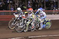 Heat 9: Chris Harris (red), Justin Sedgmen (blue) and Greg Hancock - Lee Richardson Memorial Speedway Meeting at Arena Essex Raceway, Purfleet - 28/09/12 - MANDATORY CREDIT: Gavin Ellis/TGSPHOTO - Self billing applies where appropriate - 0845 094 6026 - contact@tgsphoto.co.uk - NO UNPAID USE.