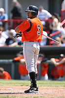April 22nd, 2007:  Oscar Salazar of the Bowie Baysox, Class-AA affiliate of the Baltimore Orioles at Jerry Uht Park in Erie, PA.  Photo by:  Mike Janes/Four Seam Images