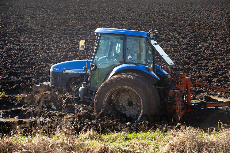 23-2-2021 Tractor stuck in wet conditions in Cambridgeshire <br /> ©Tim Scrivener Photographer 07850 303986<br />      ....Covering Agriculture In The UK....