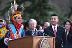 Gov. Brian Sandoval and his daughter Maddy, right, listen to the invocation given by John D. Rupert, 13, during the inauguration on the steps of the Capitol, in Carson City, Nev., on Monday, Jan. 5, 2015. (Las Vegas Review-Journal/Cathleen Allison)