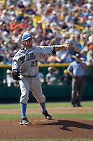 UCLA starting pitcher Rob Rasmussen in Game 11 of the NCAA Division One Men's College World Series on June 25th, 2010 at Johnny Rosenblatt Stadium in Omaha, Nebraska.  (Photo by Andrew Woolley / Four Seam Images)