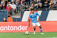 FOXBOROUGH, MA - SEPTEMBER 11: Andres Jasson #21 of New York City FC looks to pass during a game between New York City FC and New England Revolution at Gillette Stadium on September 11, 2021 in Foxborough, Massachusetts.