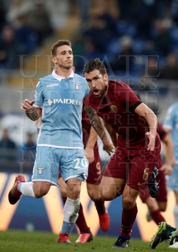 Calcio, Serie A: Lazio vs Roma. Roma, stadio Olimpico, 4 dicembre 2016.<br /> Roma's Kevin Strootman celebrates after scoring during the Italian Serie A football match between Lazio and Rome at Rome's Olympic stadium, 4 December 2016. Roma won 2-0.<br /> UPDATE IMAGES PRESS/Isabella Bonotto
